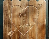 Personalized Rustic Rough-cut Heart, Valentines gift, resembles old barn boards, customized Valentine's Day gift