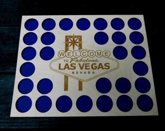 Las Vegas Poker Chip Display Frame Insert Laser-engraved Vegas logo Poker Player Gift Vegas poker Natural birch insert fits 30 Casino chips