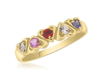 10K Yellow Gold Interlocking Hearts – 5 Birthstone Family Ring - Personalized - Engraveable