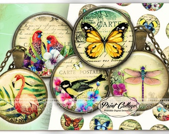 Butterfly, Flamingo, Dragonfly, Exotic Animals Digital Collage Sheet 1.5 inch 16mm 12mm 1 inch Bottle Cap images printable download c225
