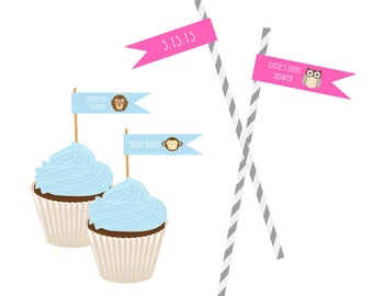 Baby Shower Straw Flag Labels / Baby Animal Straw Flags / Custom Straw Flag Labels - set of 20