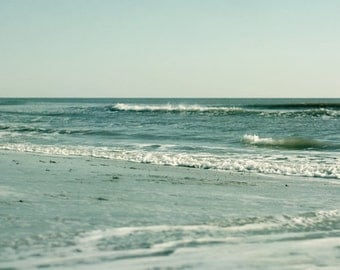 Mint green wall art, ocean photography landscape print, beach cottage decor, coastal print 16x24, mint teal nautical picture, seascape photo