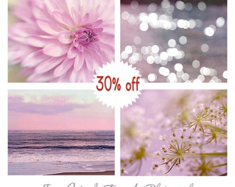 Bedroom wall art photo set, 4 11x14, 8x10, nature photography, lavender pink purple decor, floral artwork ocean sparkles, girls room prints