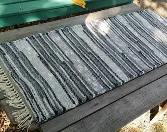 Modern Black and White Woven Wool Table Runner.