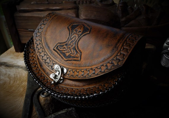 Viking Leather Belt Pouch - Mjolnir - Thor's Hammer - Ram Hammer  - Celtic - Viking Inspired - Festival / Bushcraft Possibilities Bag