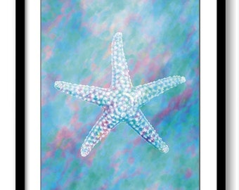Bathroom Wall Art Teal Turquoise Blue Starfish Print Elegant Watercolor Painting Wall Decor Nautical Ocean Sea Beach Bedroom