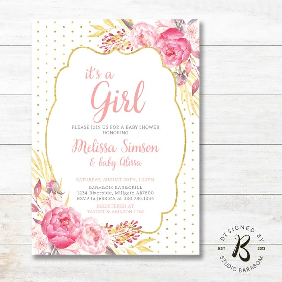 Girl Baby Shower Invitation, Couples / Coed Baby Girl Shower Invites, Unique BabyShower