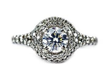 Double Halo Round Engagement Ring