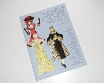 """Tom Tierney Paper Dolls """"Glamorous Movie Stars of the Thirties"""" 1978 Complete Uncut"""