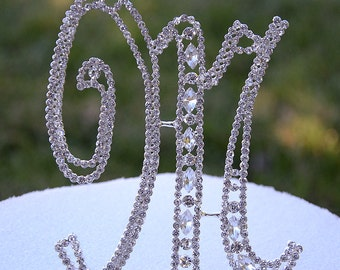 "Large 5""  Crystal Rhinestone Silver Cake Topper Letter ""M"" Monogram Wedding Birthday Party Top Initial CT048"