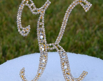 "Large 5""  Crystal Rhinestone Gold Cake Topper Letter ""K"" Monogram Wedding Birthday Party Top Initial CT093"