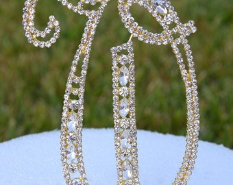 """Large 5""""  Crystal Rhinestone Gold Cake Topper Letter """"W"""" Monogram Wedding Birthday Party Top Initial CT105"""