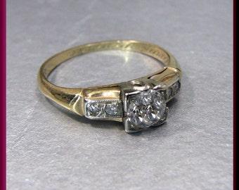 Antique Vintage 1920's 14K/18K Gold Old European Cut Diamond Engagement Ring Wedding ring