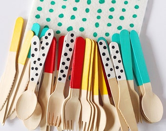 BEACH HUT Disposable Cutlery Set - Hand Painted Throwaway Wooden Knives, Forks, Spoons / Black & White Polka Dot - Party / Picnic Supplies