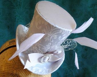 Bridal Mini Top Hat,Tea-party Mini Top Hat,Grey Victorian Mini Top Hat - Ready to Ship