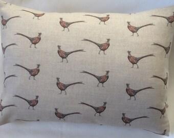 Linen Cushion in PHEASANT fabric by FLOHR