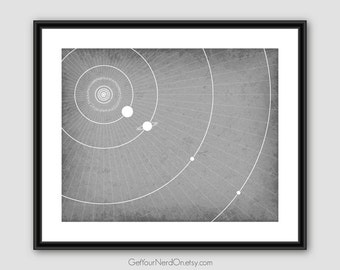 Science as Art - Planet Orbits Print - Available as 8x10, 11x14 or 16x20