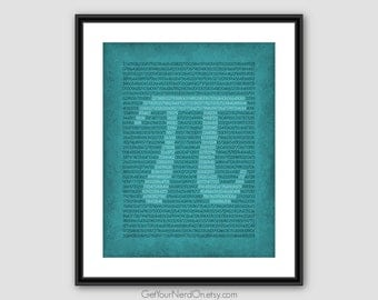 Pi Digits Print, Math Teacher Gift, Nerdy Math Poster, Mathematics Decor
