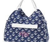 Personalized Navy Blue Anchor Beach Bag