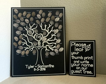 Custom Personalized Guest Tree Thumb Prints - wedding family reunion guest book sign write print name poster please leaf your thumb print