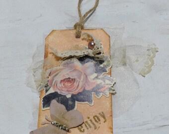 Enjoy Decorative Gift Tag, Shabby Chic Tag