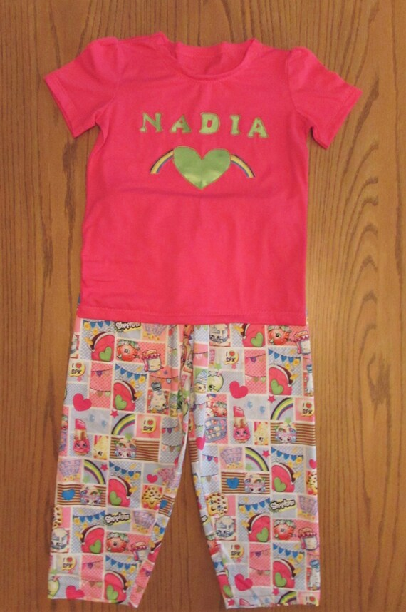 Shopkins pajamas /Birthday Shopkins pajamas/shopkins Birthday/Personal Shopkins,Shopkins pajamas/Shopkins gift/Birthday pajamas/girls pajama