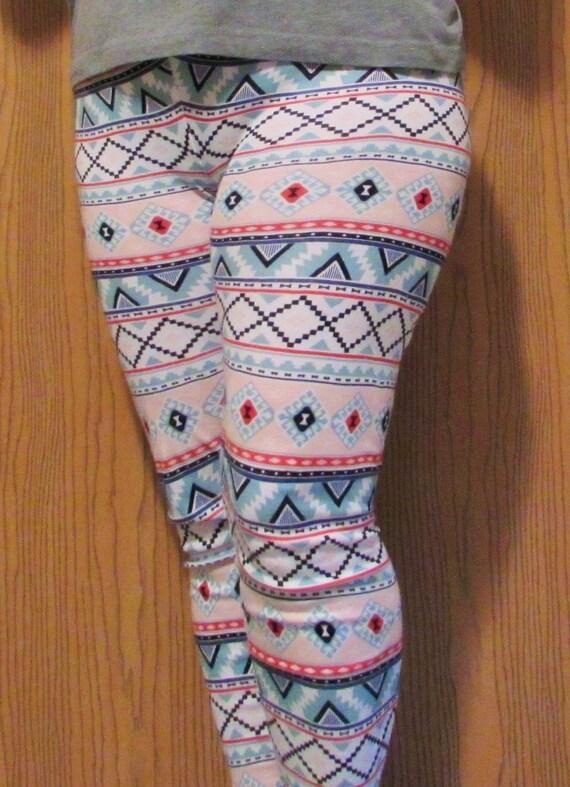 Knit leggings / aztec print/ sizes 1T to 2xl women
