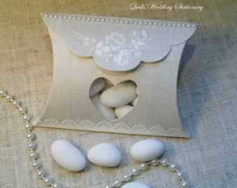 Hessian Pillow Style Wedding Favour with Heart Window.