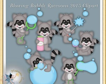 Summer clipart, Spring, Blowing Bubbles Raccoons 2015