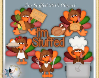Thanksgiving Turkey Clipart, I am Stuffed 2015
