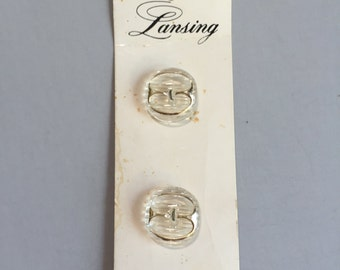 """VINTAGE CLEAR BUTTONS, Lansing buttons,clear buttons with gold trim,large clear buttons,clear costume supply,sewing supply, 7/8"""" buttons"""