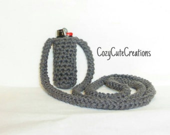 Gray Crocheted Cozy Lighter Necklace, Grey Cotton Lighter Leash, Stocking Stuffer