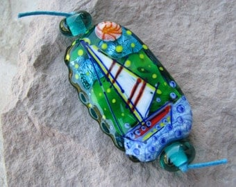 "Handmade Lampwork glass pendant, Lampwork glass focal bead, ""Sailboat and lighthouse"""