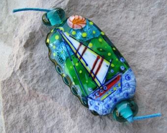 "Handmade Lampwork glass pendant, Lampwork glass focal bead, ""Sailboat and lighthouse"""
