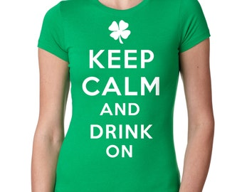 St. Patrick's Day T-Shirt Woman Top Keep Calm Tee Shirt Shamrock Clover Shirt Ladies Fit