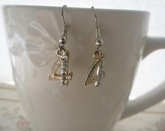 Vintage Number 4 Earrings Silver Number Earrings Small Dangle Earrings Cheap Earrings Under 10 Rhinestone Numbers Silver Plated Charms
