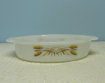 Fire King Wheat Milk Glass Baking Dish ~ Anchor Hocking ~ Circa 1950's ~ 8 Inch Round Baking Dish ~ Retro Bakeware ~ Mid Century Kitchen