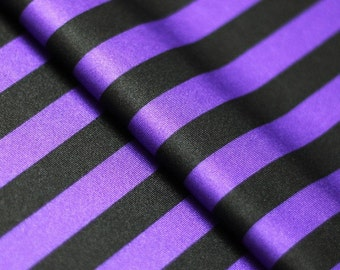 Stretch Fabric - Stripe Print, Purple and Black Striped Four way Stretch Spandex Fabric by the Yard, Meter,3/4 Yard Cut Item# RXPN-1/2-STRIP