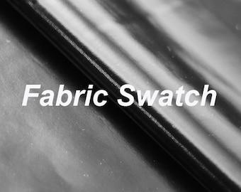 Fabric Swatch - Stretch Fabric - Four way Stretch PVC, Black High Gloss Four Way Stretch Vinyl Spandex Fabric Item# RXPN-01428BLK-SWATCH