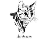 Custom PET Portrait, digital black and white drawing, unique gift for birthday, pet lovers, children, family… ! Cat, dog, rabbit…