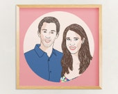 Custom Couple Portrait, 2 people, digital drawing, unique gift for birthday, wedding, family, children, mother, father, sister, brother… !