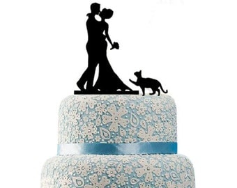 Wedding Cake Topper, Bride and Groom with Cat, Wedding Decoration