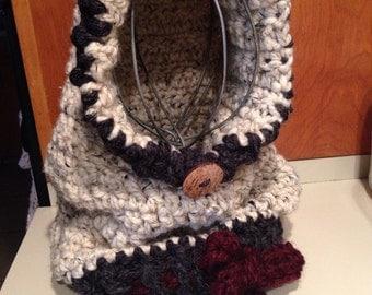 Graslyn hood the velvet acorn design hooded cowl scarf wool scarf