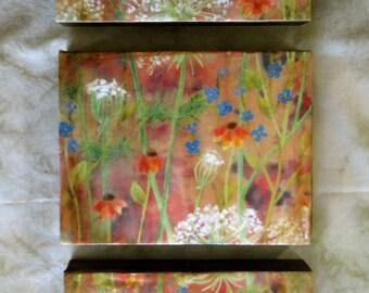 Encaustic photography - Prairie Triptych, original encaustic art, mixed media