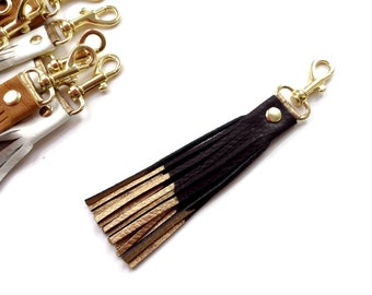 Leather tassel in black and gold key clip // key fob