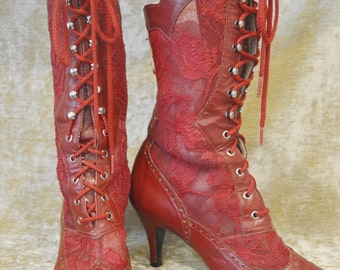 Vintage Red Leather and Lace Victorian Burlesque Lace Up Boots Size 6