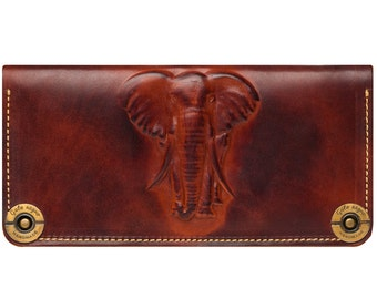 Leather wallet with embossed elephant, color brown