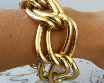 Vintage Gold Tone Chunky, Curb Chain Bracelet