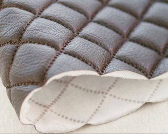 Quilted Faux Leather Fabric Brown