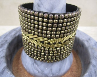 One-of-a-Kind Stunning Vintage Boho Style Wrist Band, Cuff with Snap Buttons